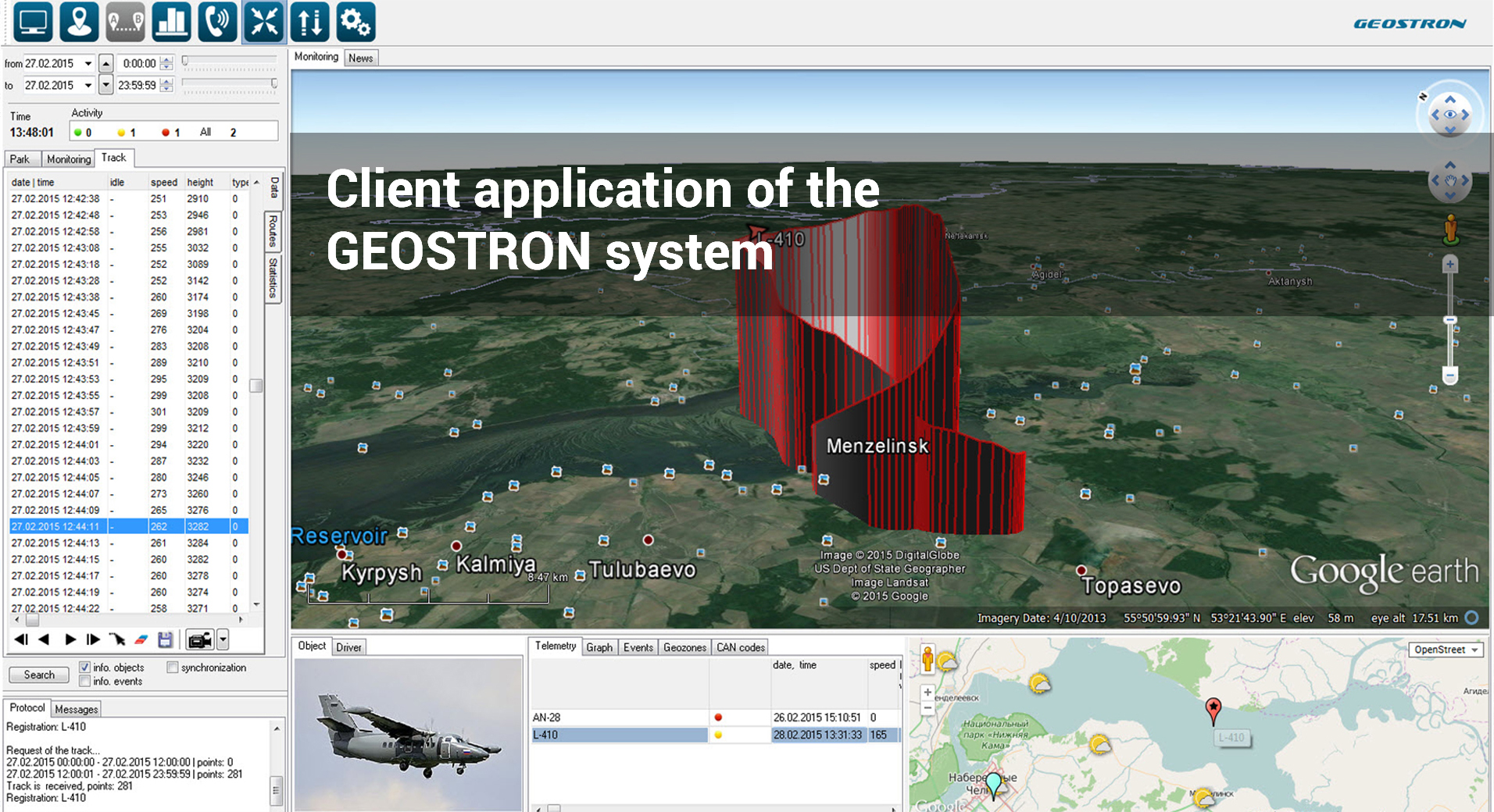 Client application of the GEOSTRON system