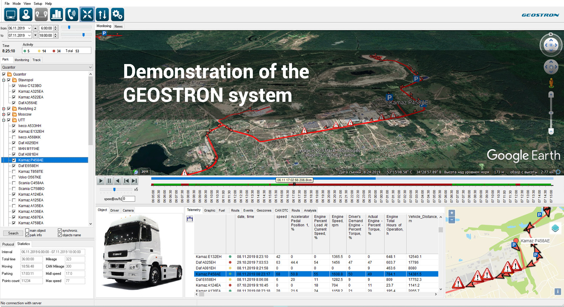 Demonstration of the GEOSTRON system